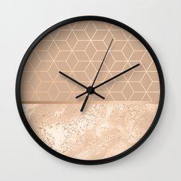 MARBLE HAZELNUT ROSEGOLD & HEXAGONAL Wall Clock