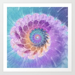 Painted Fractal Spiral in Turquoise, Purple, and Orange Art Print