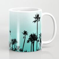 santa monica Mugs featuring Santa Monica Palms by Kat Rutt Design