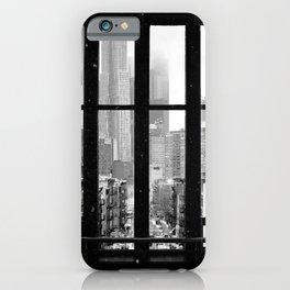 New York City Window Black and White iPhone Case