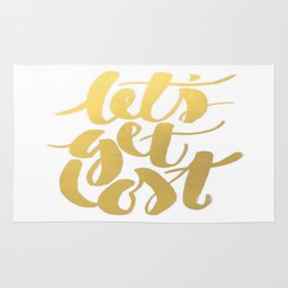 Gold Foil Get Lost Brushstroke Watercolor Typography Calligraphy Ink Inspiration Boss Print Quote Rug