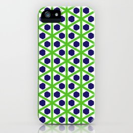 Blue Dots, Green Diamonds iPhone Case