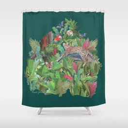 Into the Wild Emerald Forest Shower Curtain
