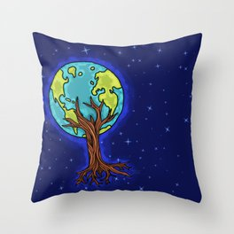 SPACE EARTH TREE Throw Pillow