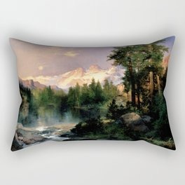 The Three Tetons, Grand Teton Mountains, Jackson Hole, Wyoming by Thomas Moran Rectangular Pillow