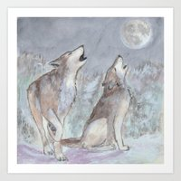 wolves Art Prints featuring Wolves by Jen Hallbrown