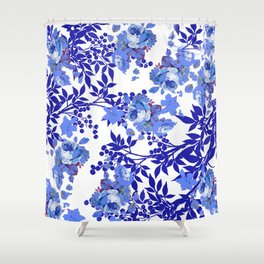 BLUE AND WHITE ROSE LEAF TOILE PATTERN Shower Curtain