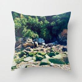 Rocky Ocean Coastline Throw Pillow