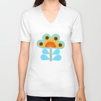 swedish V-neck T-shirts featuring swedish flowers by Wee Jock