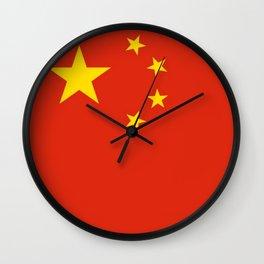 flag of china 0-中国,chinese,han,柑,Shanghai,Beijing,confucius,I Ching,taoism. Wall Clock