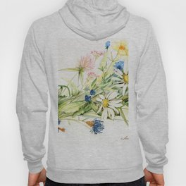Bouquet of Wildflowers Original Colored Pencil Drawing Hoody