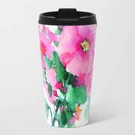 Hollyhock Pink Flowers vintage floral design Travel Mug