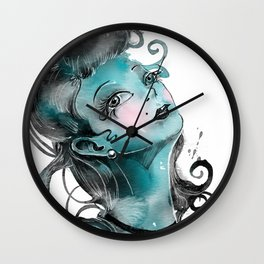 Lady of Blue Wall Clock