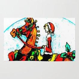 Christmas horse and girl Rug