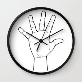 Raised hand in line style Wall Clock