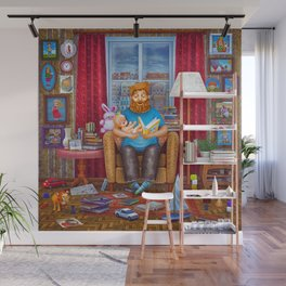 Illustration of dad sitting in an armchair, reading a book to baby , having rest. Wall Mural
