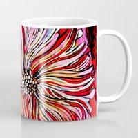 alisa burke Mugs featuring big messy flower by Alisa Burke