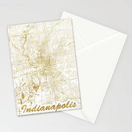 Indianapolis Map Gold Stationery Cards