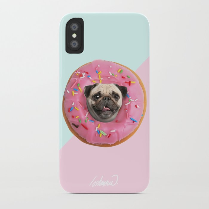 Pug Strawberry Donut iPhone Case