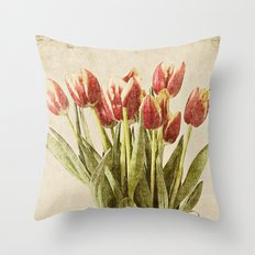 Tulips Vintage Plate Throw Pillow