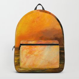 Majestic Golden-Orange Sunset Over the Troubled Atlantic Ocean landscape by Thomas Moran Backpack