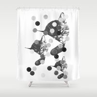 kitten Shower Curtains featuring KITTEN  by TOO MANY GRAPHIX