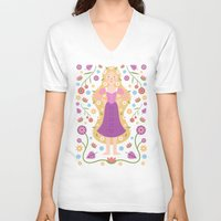 rapunzel V-neck T-shirts featuring Rapunzel by Carly Watts