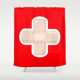 First Aid Plaster Shower Curtain