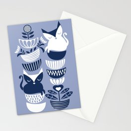 Swedish folk cats III // white background pale and navy blue kitties & bowls Stationery Cards