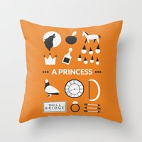 ouat Throw Pillows featuring OUAT - A Princess by Redel Bautista