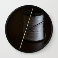 sewing Wall Clocks featuring Sewing 2 by Heartland Photography By SJW