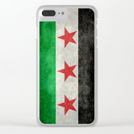 Independence flag of Syria, vintage retro style Clear iPhone Case
