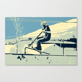 Getting Some Serious Air - Scooter Boy Canvas Print