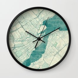 Quebec City Map Blue Vintage Wall Clock