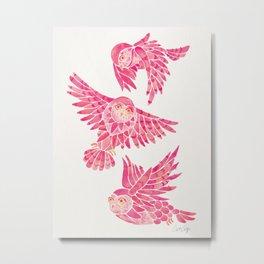 Owls in Flight – Pink Palette Metal Print