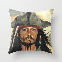 jack sparrow Throw Pillows featuring Captain Jack Sparrow by marysiak