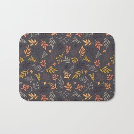 Autumn leaves orange gold gray purple pattern Bath Mat