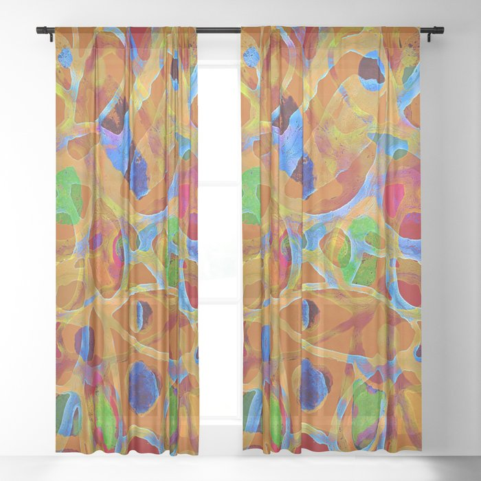 Orange Blue Green Color Blob Abstract Sheer Curtain
