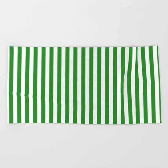 Vertical Stripes (Forest Green/White) Beach Towel
