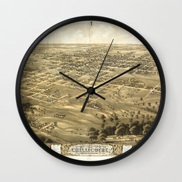 Bird's Eye View of Chillicothe, Missouri (1869) Wall Clock