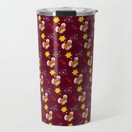 Hammy Pattern in Burgandy / Deep Red Travel Mug