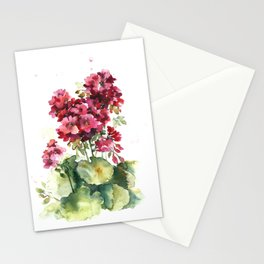 Watercolor geranium flowers Stationery Cards