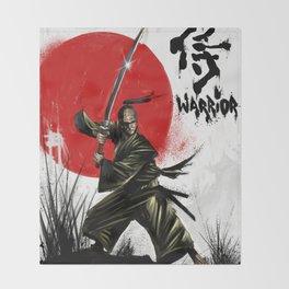 Samurai Warrior Throw Blanket