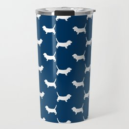 Basset Hound silhouette navy and white dog art dog breed pattern simple minimal Travel Mug