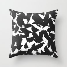 Black Bird Wings on White Throw Pillow