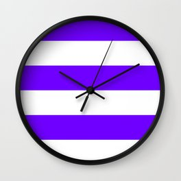 Wide Horizontal Stripes - White and Indigo Violet Wall Clock