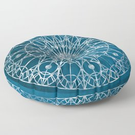 Rosette Window - Blue Floor Pillow