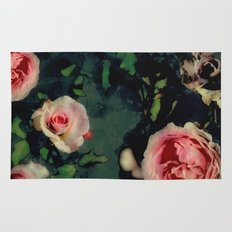 Big Pink Roses and Green Leaves Graphic Rug