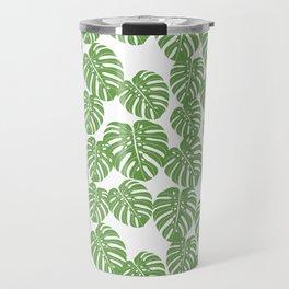 Monstera leaf tropical pattern minimal botanical design by andrea lauren Travel Mug