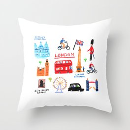 Colorful London Throw Pillow